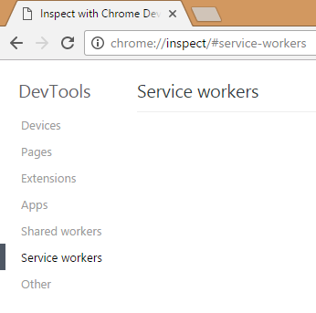 Chrome Service Workers inspector