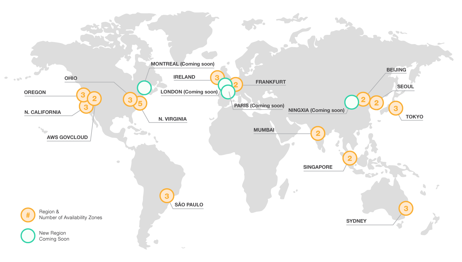 AWS regions map
