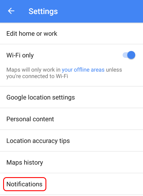Turn off creepy Google Maps notification - step 1
