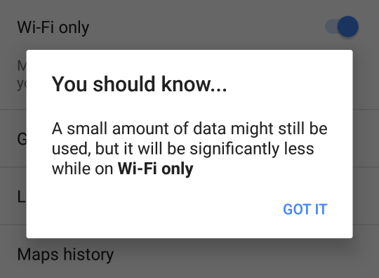 Google Maps Wi-Fi only warning