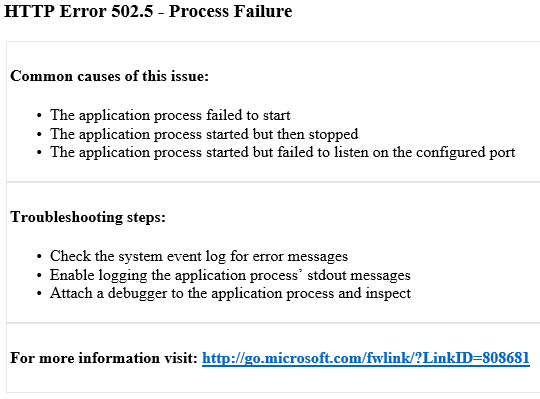 IIS Express HTTP Error 502.5 Process Failure