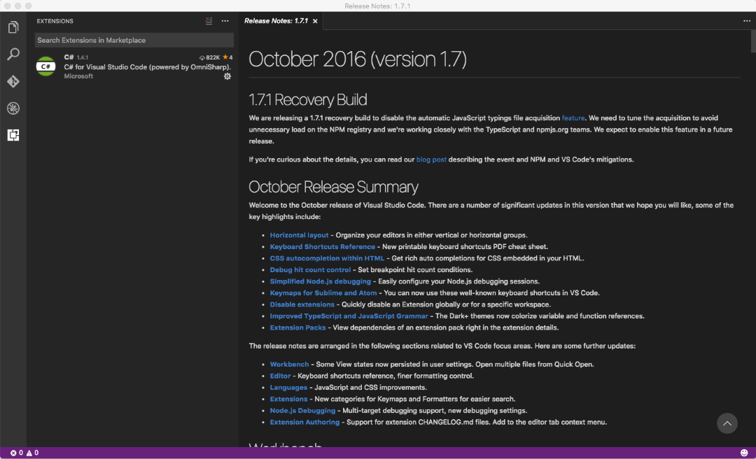 Visual Studio Code 1.7.1