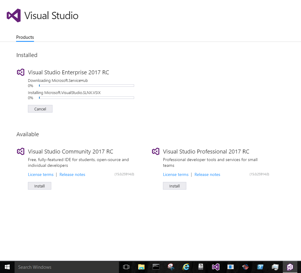 Visual Studio 2017 Release Candidate Installing