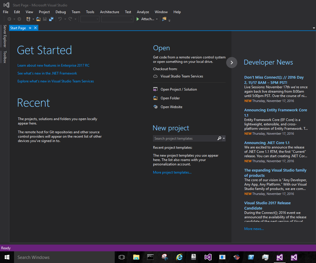 Visual Studio 2017 Release Candidate Getting Started