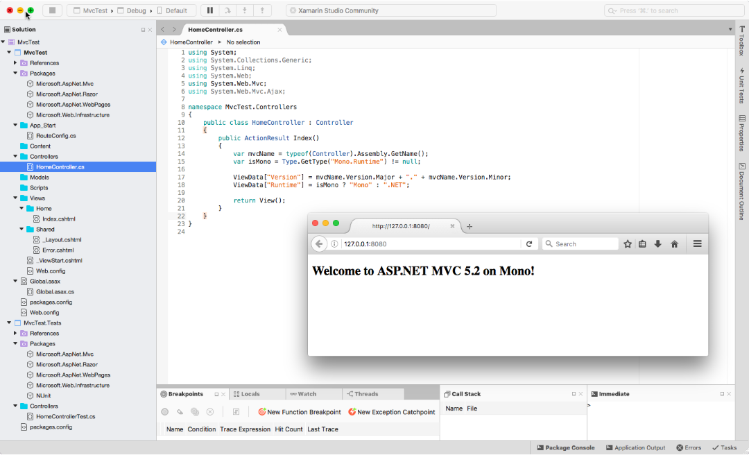 Xamarin Studio ASP.NET MVC 5.2 with Firefox
