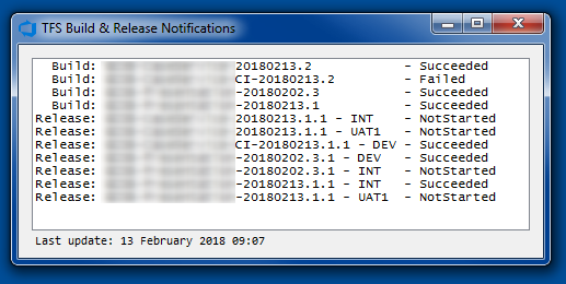 TFS Build and Release Notifications Summary