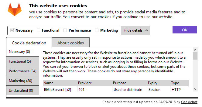 GitLab's cookie consent form details
