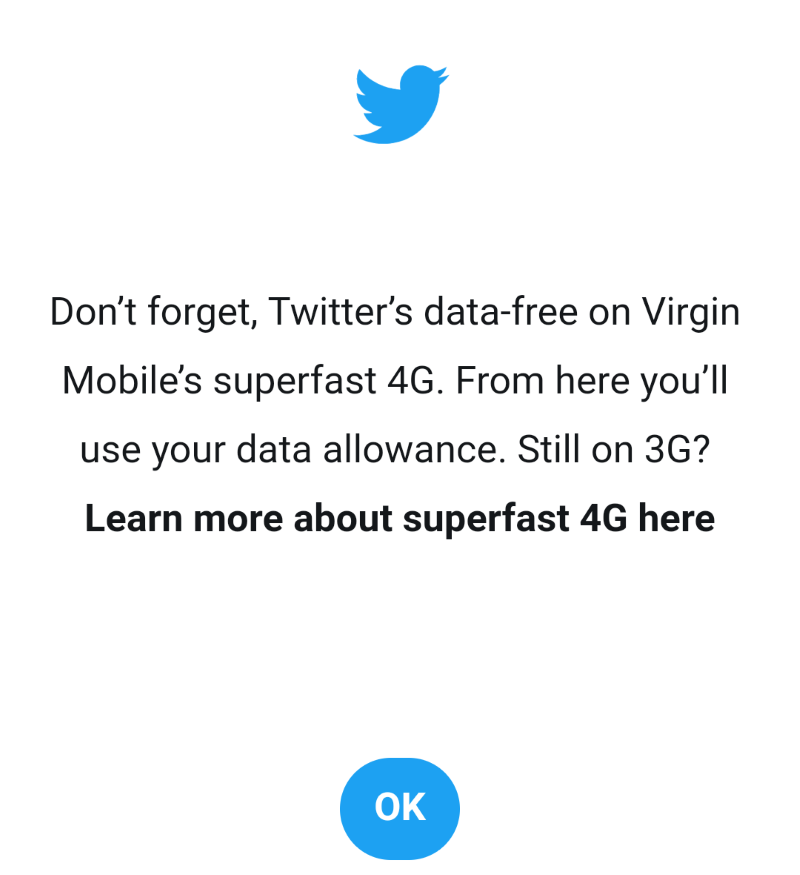 Virgin Mobile Twitter Modal