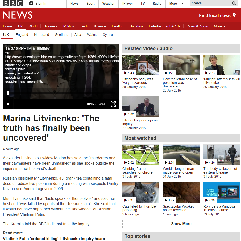 bbc news html5 player